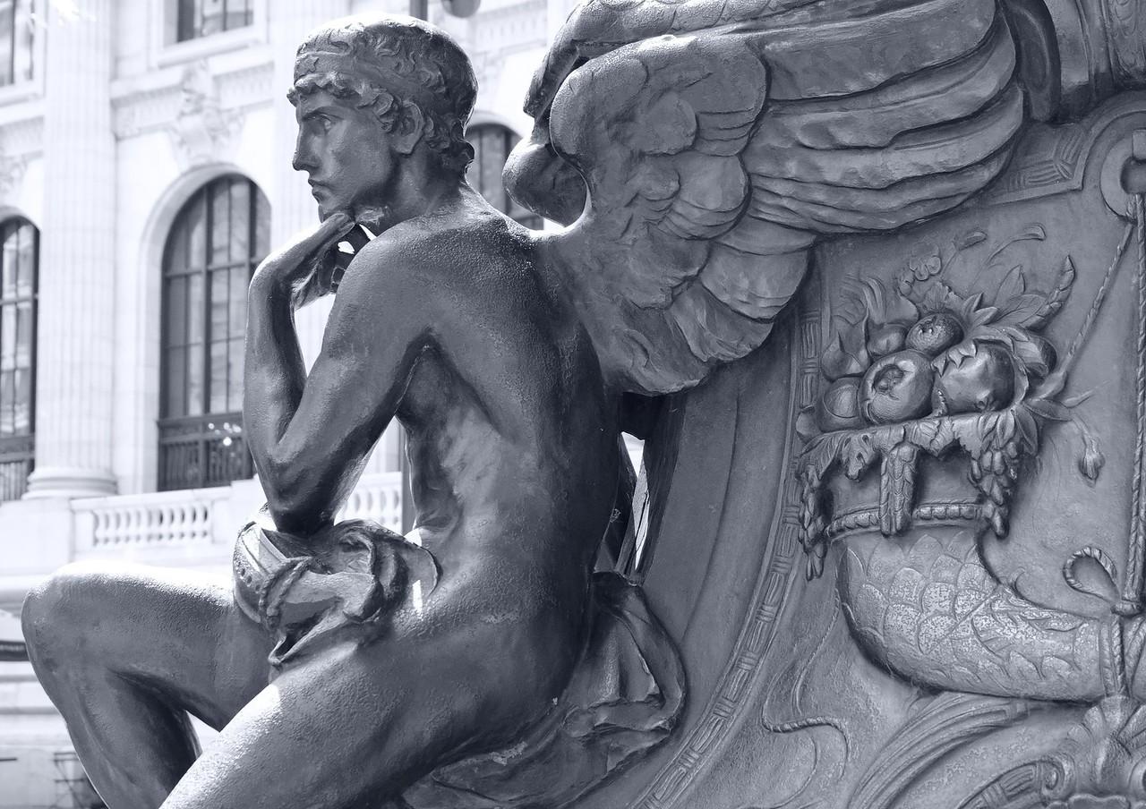 Mercury contemplating library fine