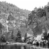 B & W hanging lake pano