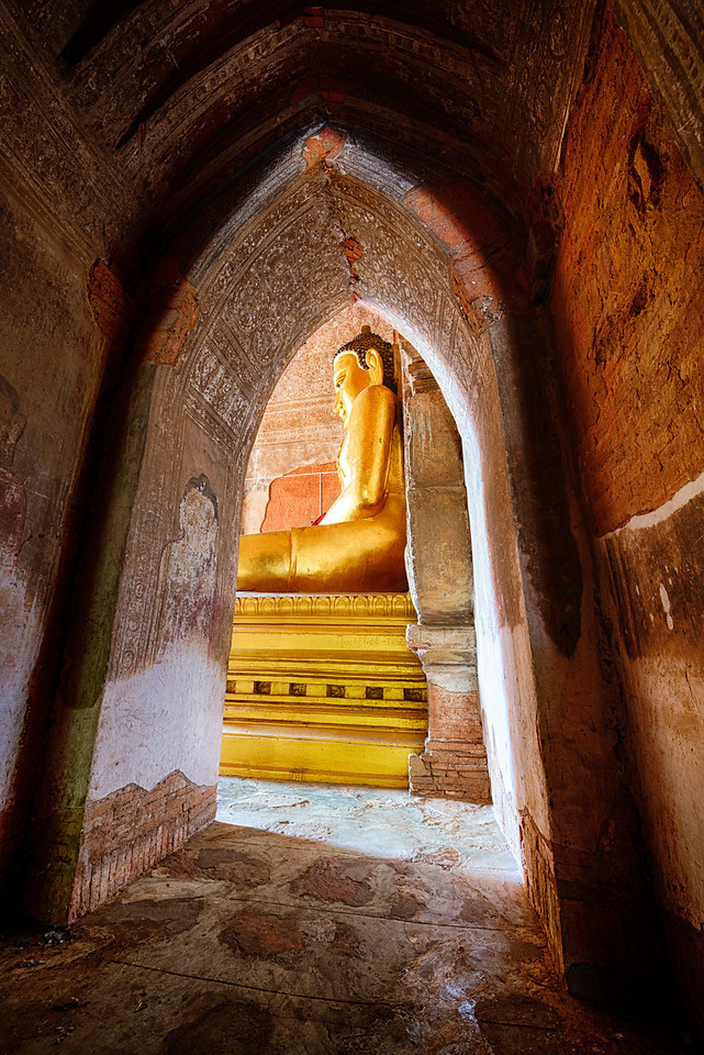 A passage way to the golden Buddha at Htilominlo temple Bagan, Myanmar