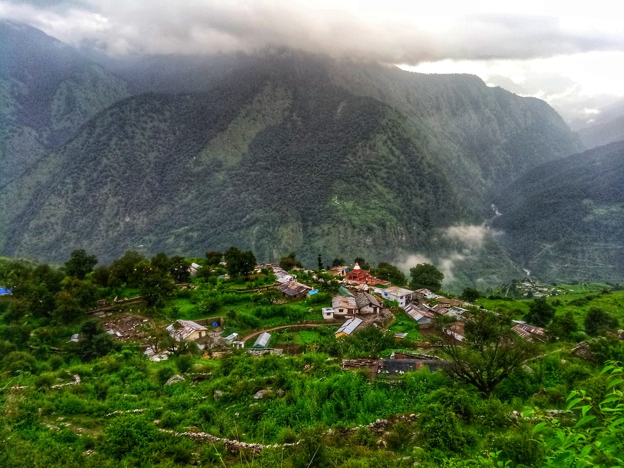 A typical village in the Garhwal Himalayas of Uttarakhand