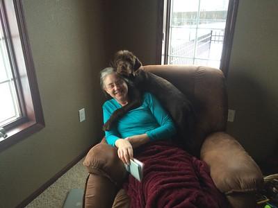 Zephyr hugs Mitzi.