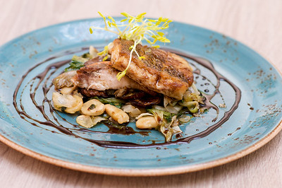 Pan Seared Local Snapper with Escarole, Butter Beans