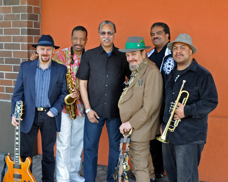 """OAKLAND, CA-MARCH 21: Performers at """"Zigaboogaloo,"""" a celebration of the career of Zigaboo Modeliste, posing outside Yoshi's in Oakland on March 21, 2010. (L-R): Garth Weber, Donald Harrison, Zig Modeliste, Dr. John, David Barard, Nicholas Payton. (Photo by Clayton Call/Redferns)"""