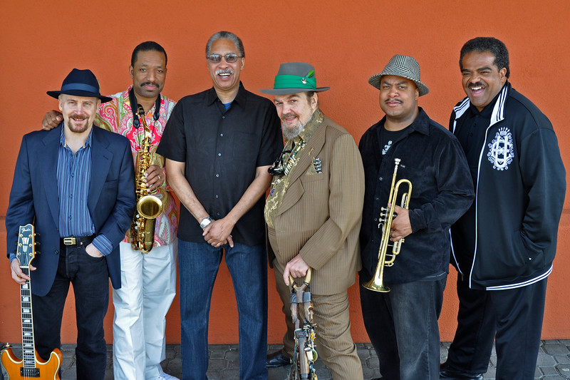 "OAKLAND, CA-MARCH 21: Performers at ""Zigaboogaloo,"" a celebration of the career of Zigaboo Modeliste, posing outside Yoshi's in Oakland on March 21, 2010. (L-R): Garth Weber, Donald Harrison, Zig Modeliste, Dr. John, Nicholas Payton, David Barard. (Photo by Clayton Call/Redferns)"