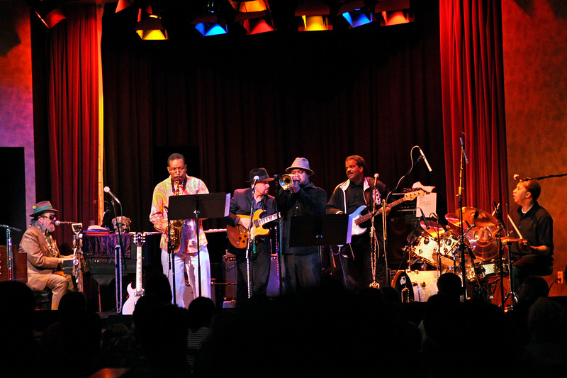 OAKLAND, CA-MARCH 21: Zigaboo Modeliste performing with special guests at Yoshi's in Oakland, CA on March 21, 2010. (L-R): Dr. John, Donald Harrison, Garth Weber, Nicholas Payton, David Barard, Zigaboo Modeliste (Photo by Clayton Call/Redferns)