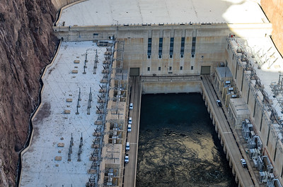 Hoover Dam; Close up of the power station where the flow of water is controlled