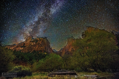 """Above the Court,"" The Milky Way over the Court of the Patriarchs, Zion Canyon, Zion National Park, Utah"
