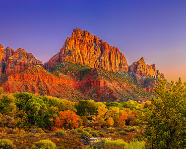 """The Autumn Watchman,"" Watchman and Johnson Mountain at Sunset in Autumn, Zion National Park"