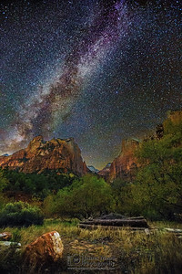 """Celestial Judgment,"" The Milky Way over the Court of the Patriarchs, Zion Canyon, Zion National Park, Utah"