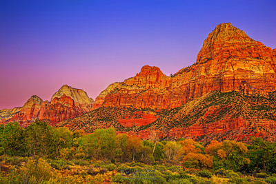 """The Mountain Row,"" Sunset over Bridge Mountain, the East Temple, Mount Spry, the Twin Brothers and Mountain of the Sun, Zion National Park, Utah"