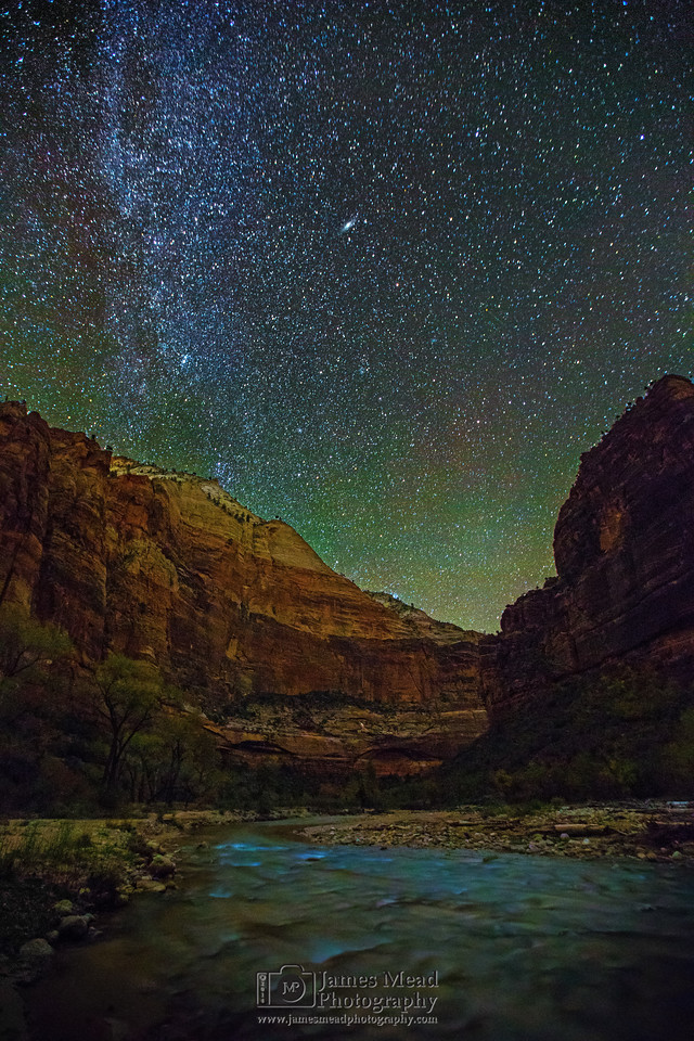 """In the River at Night,"" Virgin River, Zion Canyon, Zion National Park"