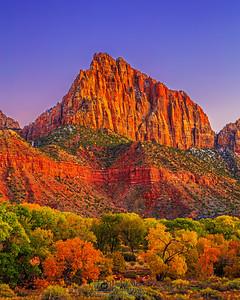 """Autumn Guard,"" Autumn Sunset over The Watchman, Zion National Park, Utah"