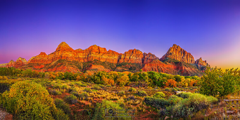 """""""""""The Eastern Guard,"""" The Mountains of Zion at Sunset in the Autumn, Zion National Park, Utah"""