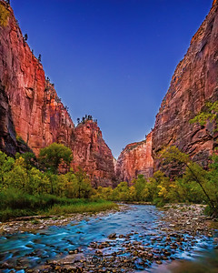 """Into the Narrows,""  Dusk over the Virgin River, Zion National Park"