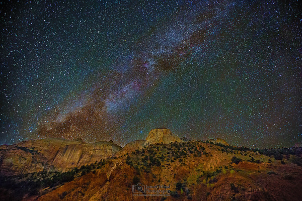 """""""Sentinel's Silence,"""" The Mily Way over the Sentinel and the Streaked Wall, Zion Canyon, Zion National Park, Utah"""