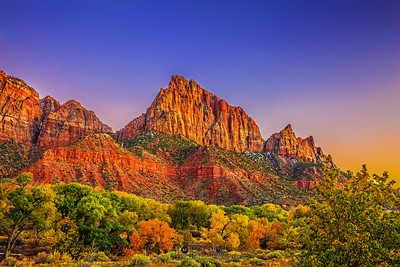 """Autumn Sunset over The Watchman  and Johnson Mountain,"" Zion National Park, Utah"