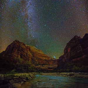 """Angels over Zion,"" the spiral arm of the Milky Way and the stars over the Virgin River, Zion Canyon, Zion National Park, Utah"