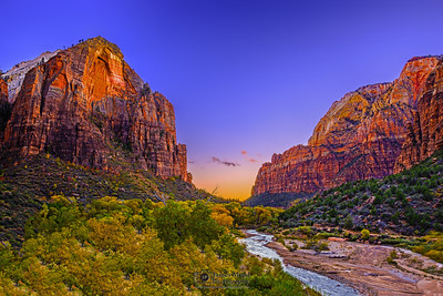 """Magic Canyon,"" Sunset over Red Arch Mountain, the Spearhead, Golden Cottonwood Trees and the Virgin River, Zion National Park, Utah"