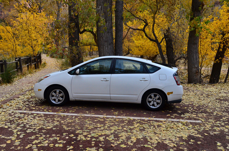 Reliable 2004 Prius with ~240,000 miles at the Zion - Angels Landing Trailhead 11-20-11.