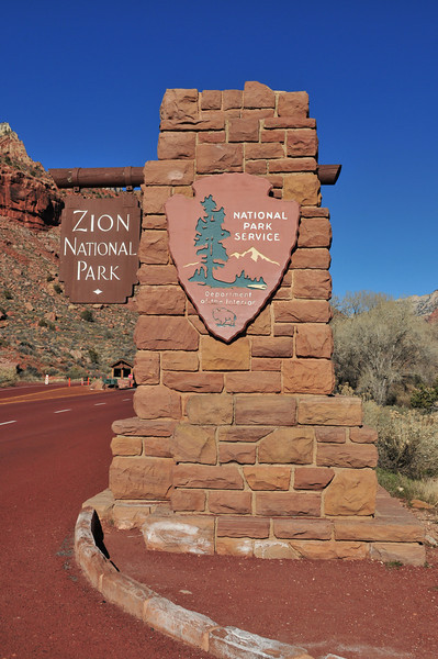 This PIC was taken as we were leaving Zion ... early afternoon ...another beautiful day in Zion 1-15-2011.  A nice day for a drive through Zion ... dogs are not allowed on but one walking trail, so we'll first take a drive. I returned on 1-16-11 to hike Angels Landing and stroll the Riverside Walk.