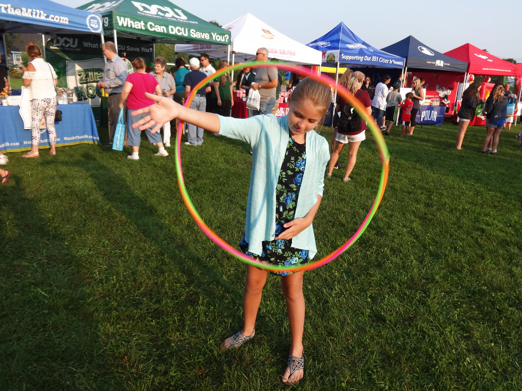 . Tia Dennis, 8,  of Hudson, showed off her hula hoop skills at the Billerica Zip Trip. Photo by Mary Leach