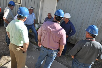 Louisiana farmers touring with American Farm Bureau President Zippy Duvall get ready to tour the Louisiana Sugar Cane Co-op in St. Martinville to tour the sugar mill.