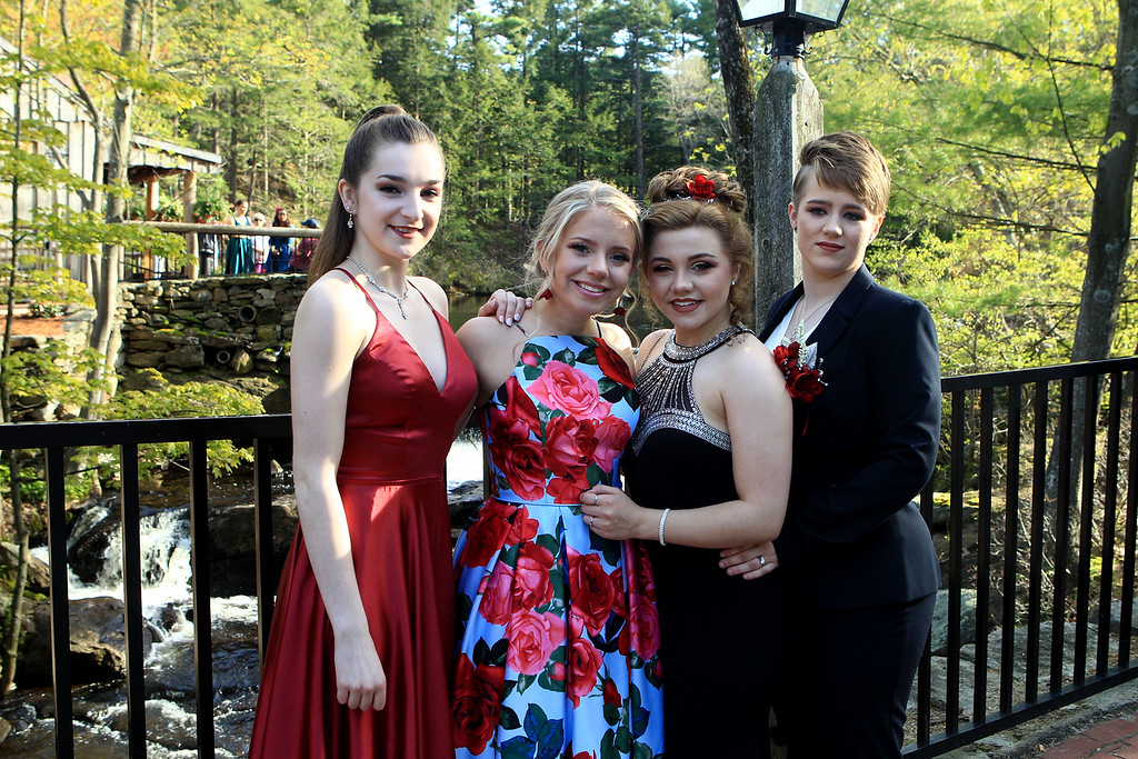 . Jillian Ward, Chauncie Ouellette, Olivia Wilkins and Kira Casey at the Sizer School prom held Saturday at Westminster\'s 1761 Old Mill. Photo by Vincent Apollonio