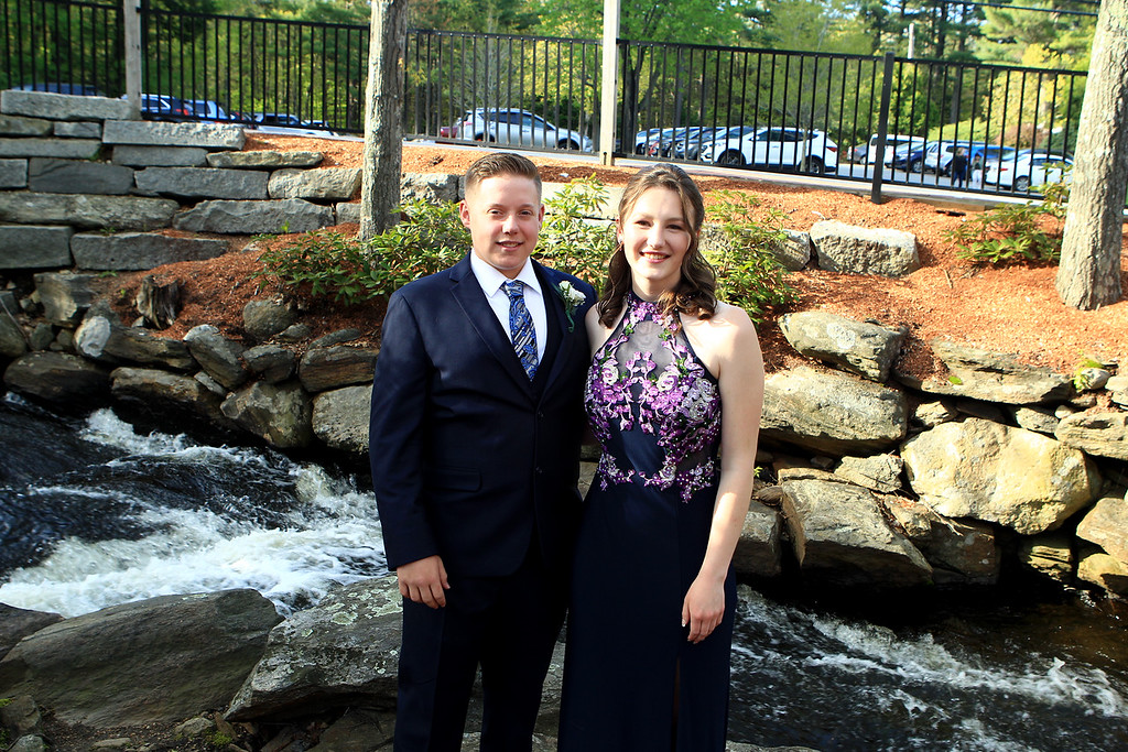 . Aidan Ouellette and Claire Petersen at Sizer Shool Prom pose at the waterfall at 1761 Old Mill in Westminster on Saturday, May 18. Photo By Vincent Apollonio