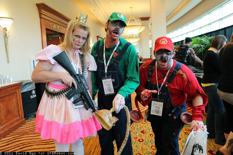 Princess Peach, Zombie Luigi, and Zombie Mario