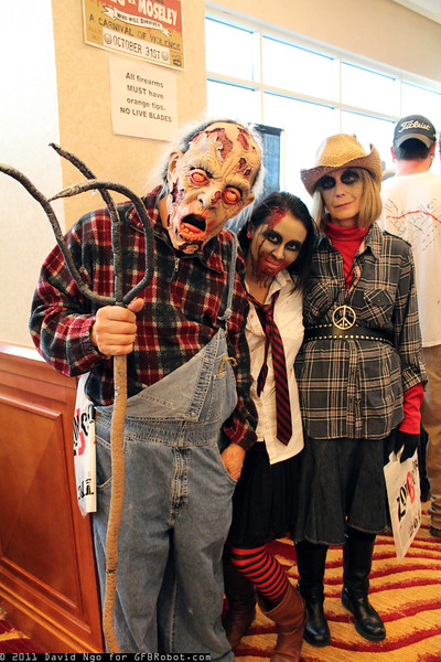 Zombie Farmer, Zombie, and Zombie Cowgirl