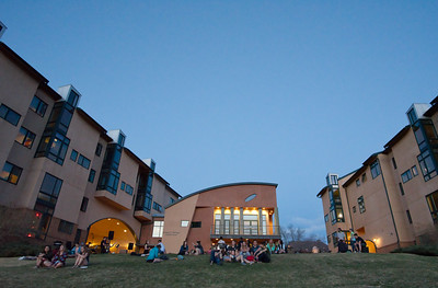 Josh Birndorf  Students gather outside the Preserve celebrate Colorado's beautiful weather with s'mores and live music.