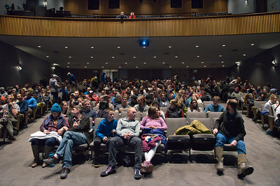 10/30/2019 Joshua Birndorf '20  Students and community members gather in Kathrym Mohrman theatre for Reel Rock 14, a film festival for climbers and and other outdoor enthusiasts.