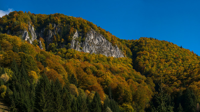 Lime stone rocks in the Carpathian Mountains, Romania. This is a very large panorama merged together of several photos (This version has actually been mad smaaler since the original version was too big for Smugmug. A larger version is available in the HQ office). Suitable for vrey large prints. © Daniel Rosengren