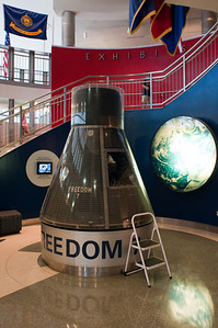 """This is the Mercury-Redstone 3 capsule, """"Freedom 7"""".  In 1961, this capsule allowed Alan Shepard (USNA, Class of 1944) to become the first American into space."""