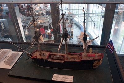 """A model at the Visitor's Center included this model of the """"Bon Homme Richard"""", one of the ships commanded by John Paul Jones."""