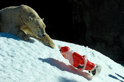 Santa goes down the hill...