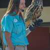 BIRD TRAINER ATHENA WITH BEN, AN EURASIAN EAGLE OWL.
