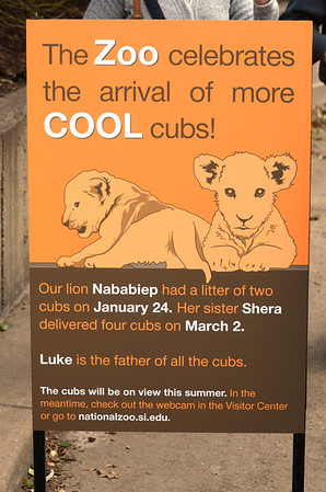 Good sign at the zoo. National Zoo, Smithsonian Institution, Washington DC, March 2014.