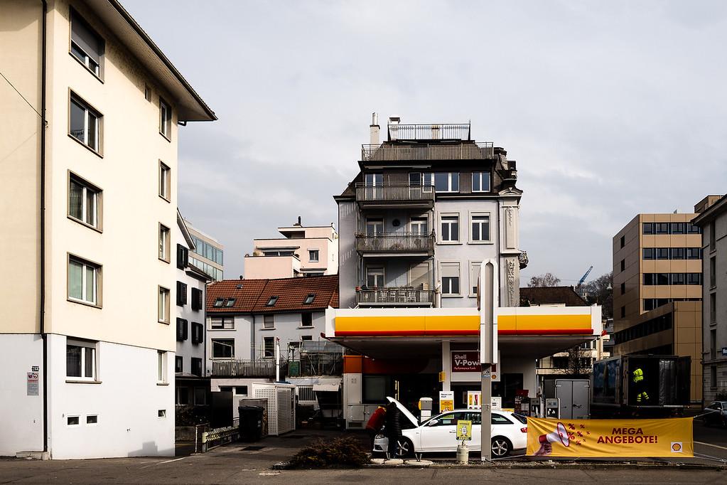 Die Shell-Tankstelle an der Bellerivestrasse
