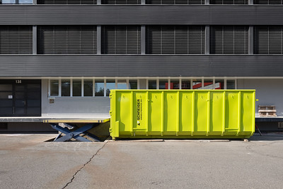 Trash container outside a building in Zurich