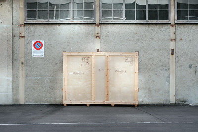 Big crate on the street in Zurich