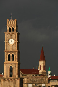 View of a clock tower in the city of Akko, Northern Israel. November 14, 2006. Photo by Doron Horowitz/