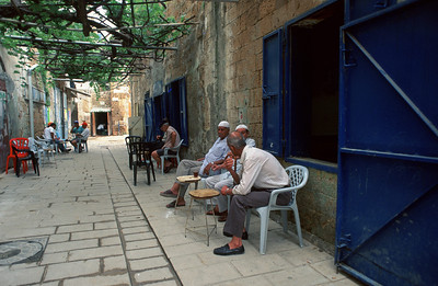 **FILE2006** Muslim men sit and drink tea and coffee on a street in Akko, Northern Israel. January 09, 2006. Photo by Doron Horowitz/Flash90
