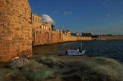 View of fish nets by the port in Akko, Northern Israel. January 09, 2006. Photo by Doron Horowitz