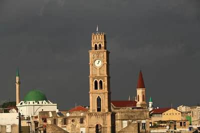 **FILE2006** View of a clock tower in the city of Akko, Northern Israel. November 14, 2006. Photo by Doron Horowitz/Flash90