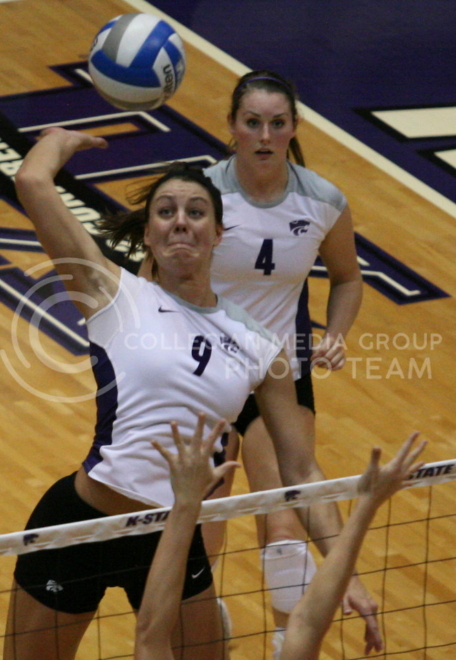 Sophomore middle blocker Alex Muff spikes the ball against Nebraska University Saturday night in Ahearn Fieldhouse. The Cats lost in 3 sets.