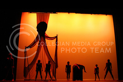 """Then K-State dance program practices thier piece """"There are No Words"""" for thier spring dance in McCain auditorium Tuesday night."""