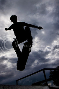 Nick Stueve, sophomore in electrical engineering at Kansas State University, jumps off of a ramp at the skate area of CiCo Park in Manhattan KS September 8, 2009.