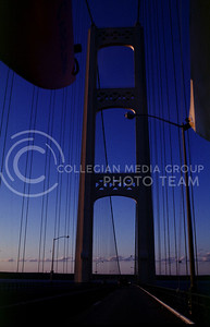 Going over the Mackinac Bridge at sunset.