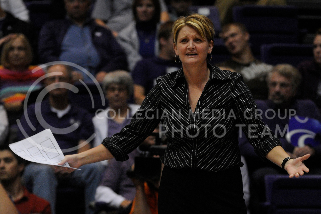 Coach Suzie Fritz reacts to a call against K-State during the Texas Tech match November 3 in Ahearn Field House. The Wildcats lost last night on the road to Nebraska.